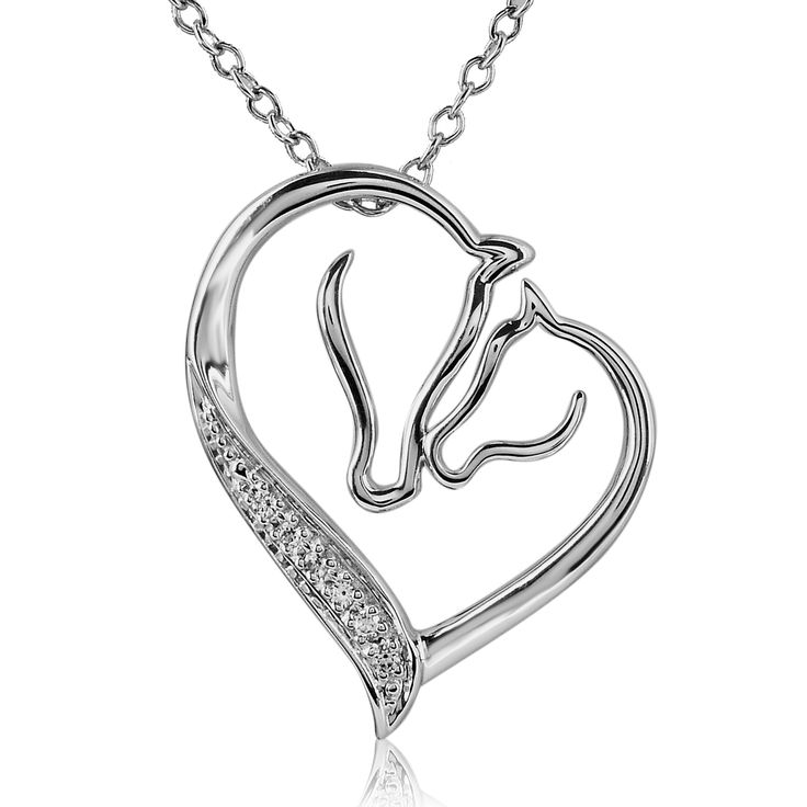 The perfect gift for any horse lover, this dazzling diamond necklace for women features two horse profiles that combine in the shape of a heart. It is made from sterling silver for added shine, and it comes complete with a matching chain.