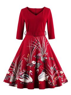 Abito Vintage Borgogna V collo 3/4 lunghezza manica floreale stampato vestito a pieghe pieghe Fit Slim
