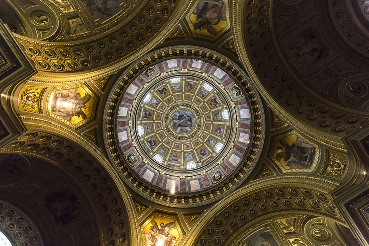 The ceiling of the St. Stephen's Basilica in Budapest