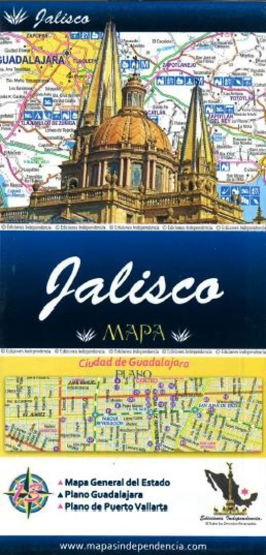 Jalisco, Mexico, State and Major Cities Map by Ediciones Independencia