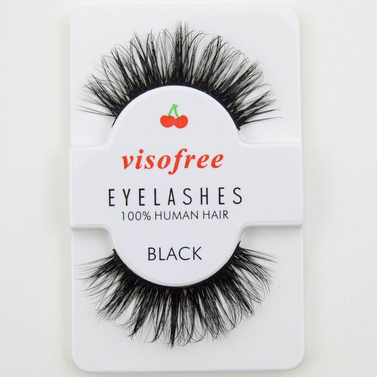 Visofree False Eyelashes Black 3D Eyelashes Human Hair Handmade Thick Eye Lashes #29
