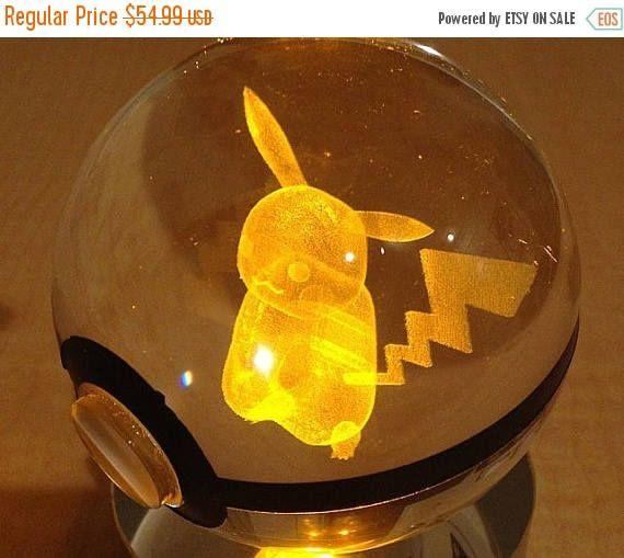 Crystal Glass 3D Laser Engraved Pokeball (Pikachu)