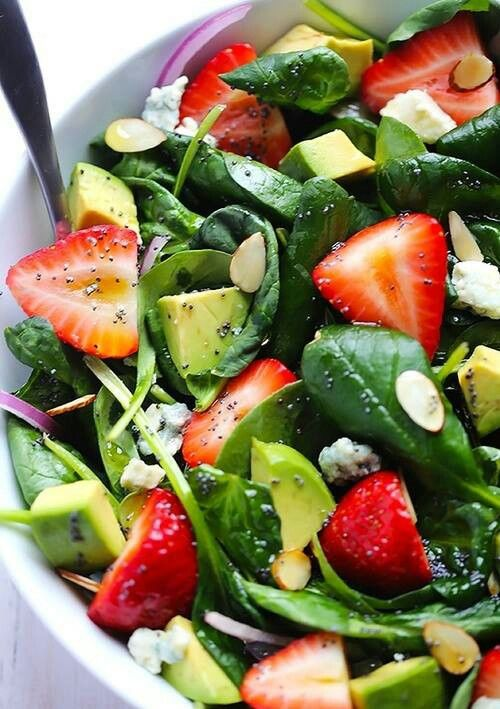 Looks like Linda's salad! I've made a salad dressing with a lil vinegar (which ever kind you want) olive oil and strawberries puréed together, it would be great with those ingredients!