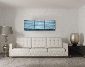 Trittico Wrap blu tela astratta, tela astratta acqua avvolgere, 3 pannello tela, luce blu acqua Wall Art, Seascape tela Set di 3
