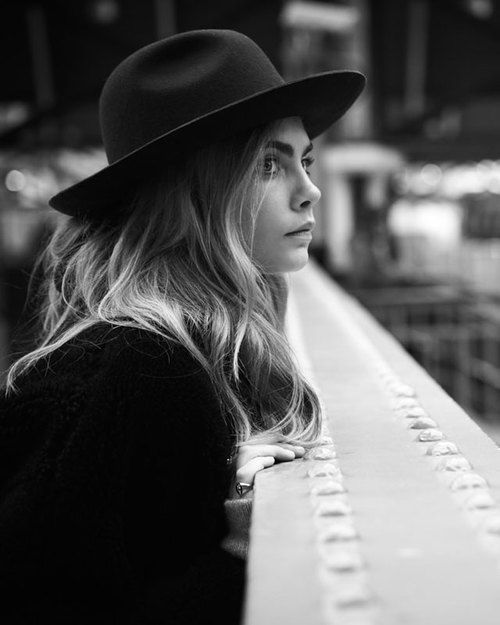Cara Delevingne... and a really great hat. fedoras are a great winter hat that makes any outfit look chic