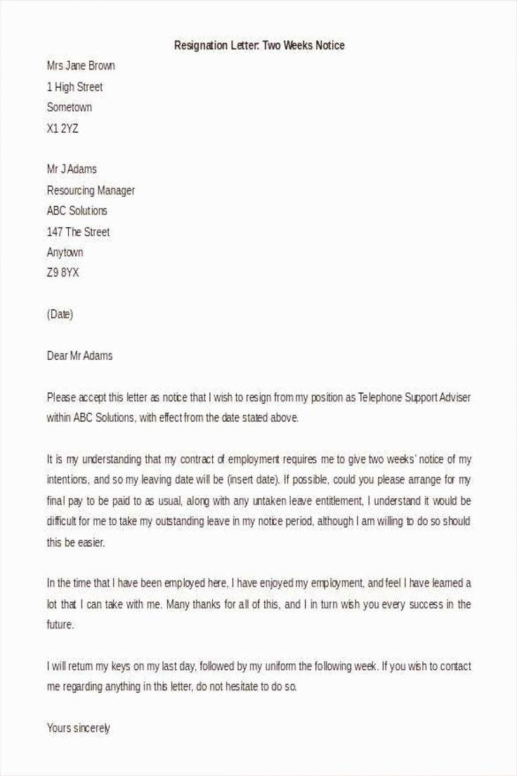 2 Week Notice Template Word Awesome 34 Two Weeks Notice
