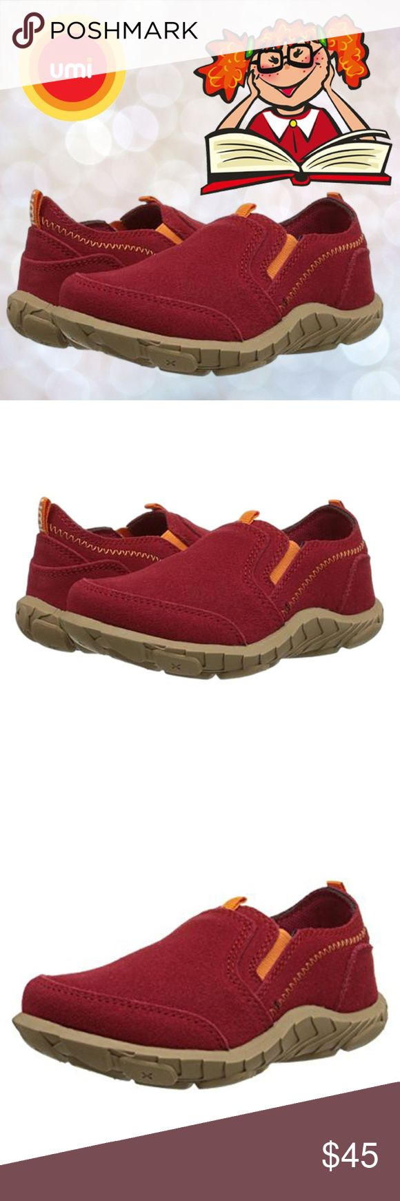 Umi Kids Girls Peyton Suede Slip-on Shoes Traction ✔This Umi Kids Peyton Girl's slip-on shoe provides ease and support during hopscotch, jump rope, kickball, and everything in between!  ✔Features:  Round toe, Easy and comfortable slip-on design, Dual elastic side gores, Contrasting topstitching, Front and back pull loops  ✔Material: Suede upper, textile mesh lining, Flexible manmade rubber traction outsole  ✔Size: US 8.5 Medium Toddler, EU 25  ✔Color: Red, Orange  ✔Condition: Brand New in…