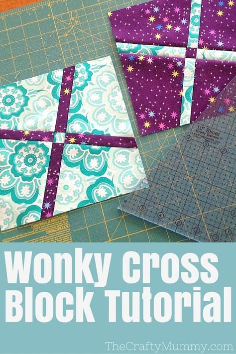 """Tutorial: Wonky Cross Block - See a brand new quilt block tutorial using the 10"""" Slicer from Crafty Gemini and Quilty Box: the Wonky Cross Block"""