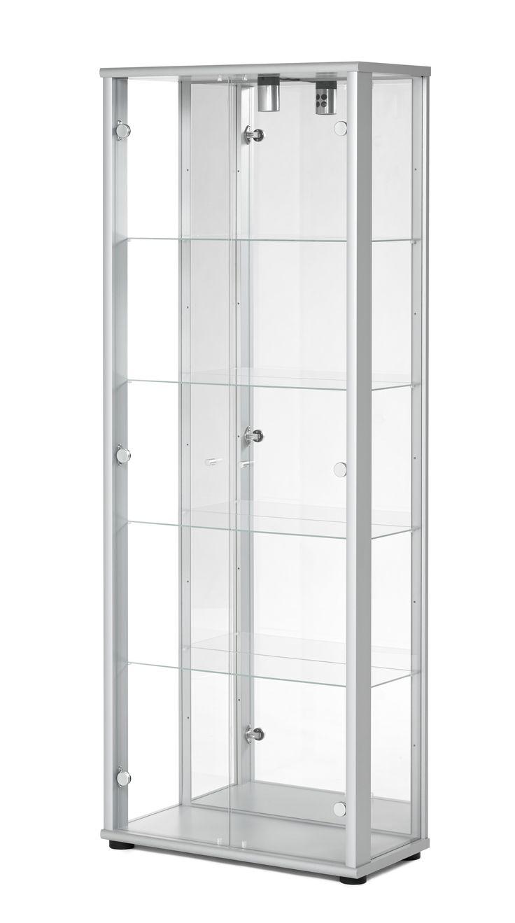 Vitrinskåp med stora glasytor och en spegel. Belysning ingår.