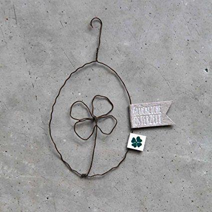 Frühlings Draht Ornament Osterei mit Kleblatt