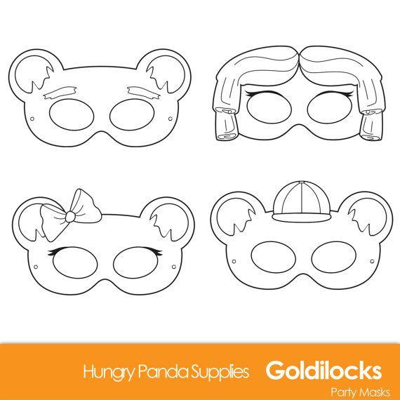 Goldilocks and the three bears, Goldilocks costume, Goldie Locks, DIY Printable Black and White Line Art Masks