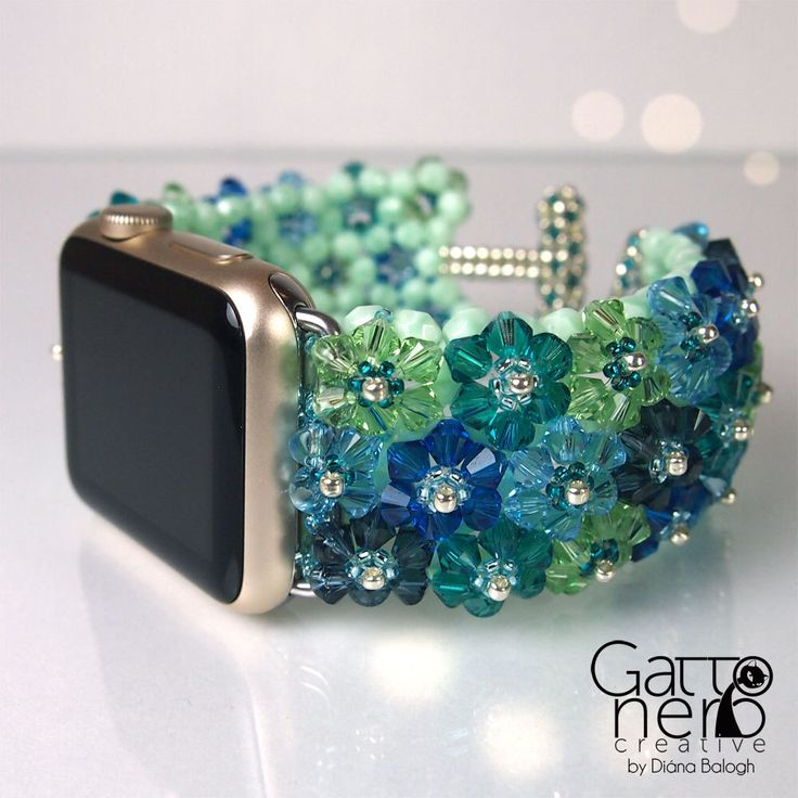 Apple Watch Band 38 mm, Handmade Swarovski Crystal Apple Watch Strap, blue, green by DiasJewelryShop on Etsy https://www.etsy.com/listing/489184393/apple-watch-band-38-mm-handmade