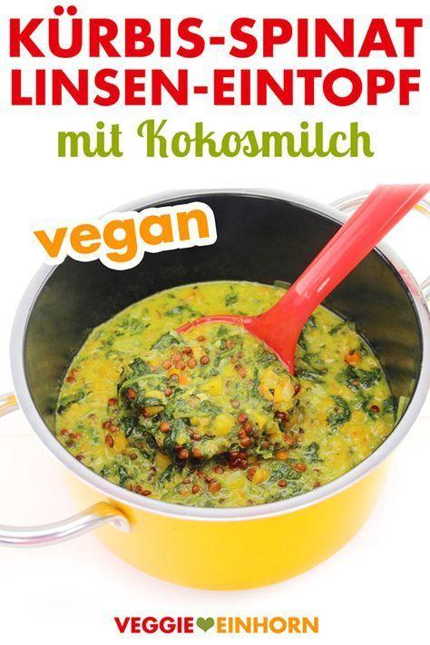 Ensopado de lentilhas veganas com abóbora, espinafre e leite de coco