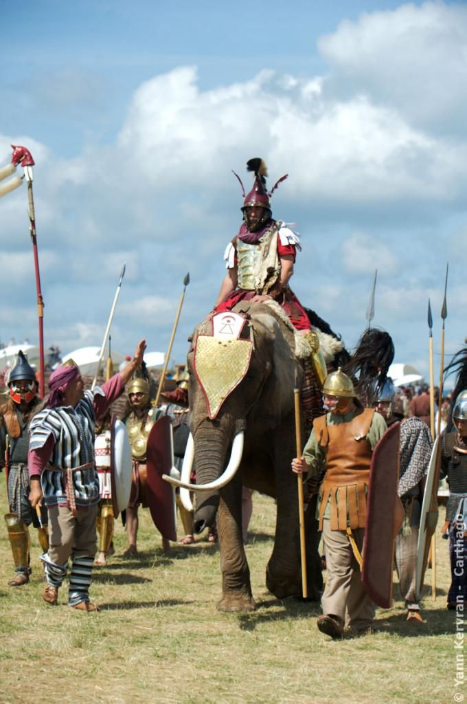 Carthaginian reenactors with a war elephant, which gives a good idea of scale to men on foot.
