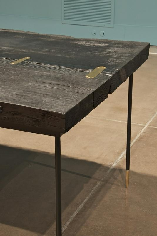 Exceptional Super Cool Live Edge Table Made From A Sugar Pine Slab With Gold Hardware