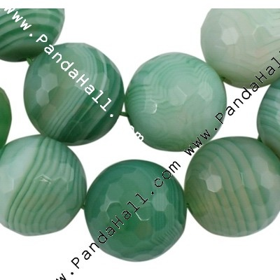 """Gemstone Beads Strand, Natural Striped Agate, Natural, Faceted Round, Green, about 8mm in diameter, hole: 1mm, 49 pcs/strand, 15"""""""