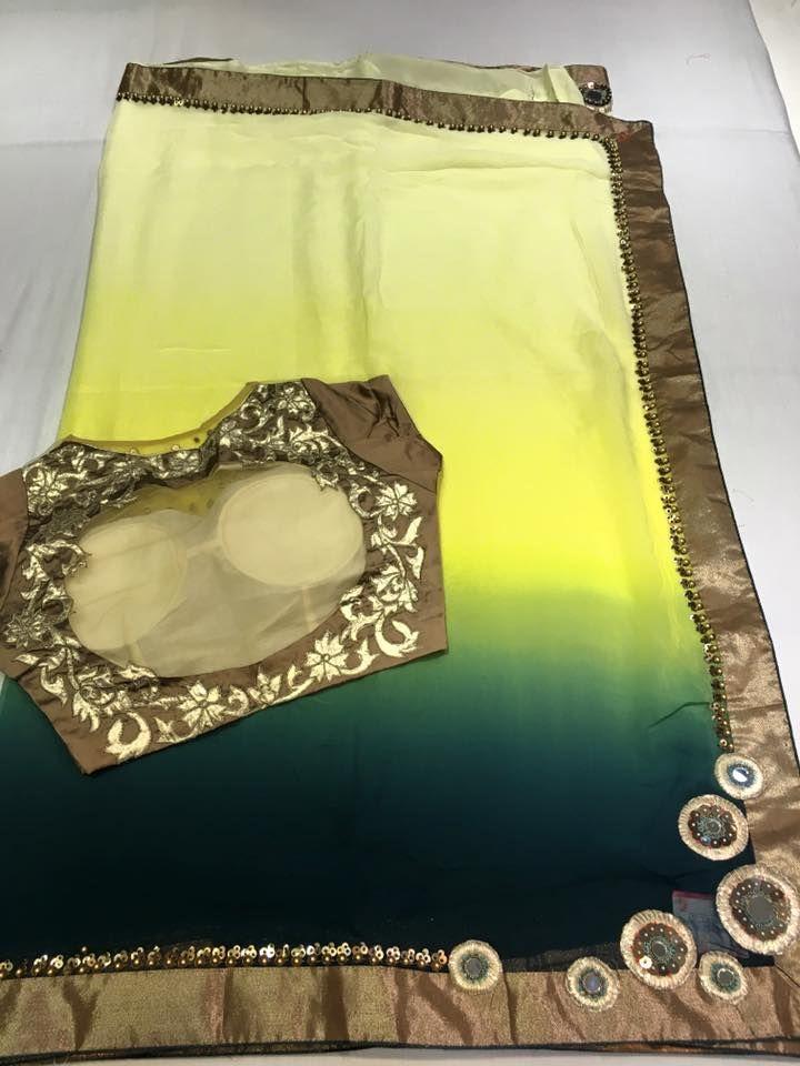 Georgette Designer Shaded sarees with fancy Blouse | Buy online Designer Sarees | Elegant Fashion Wear