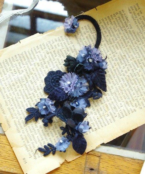 m.soeur(エムスール)のツルリーフとお花のイヤーカフ(イヤリング) ブラック