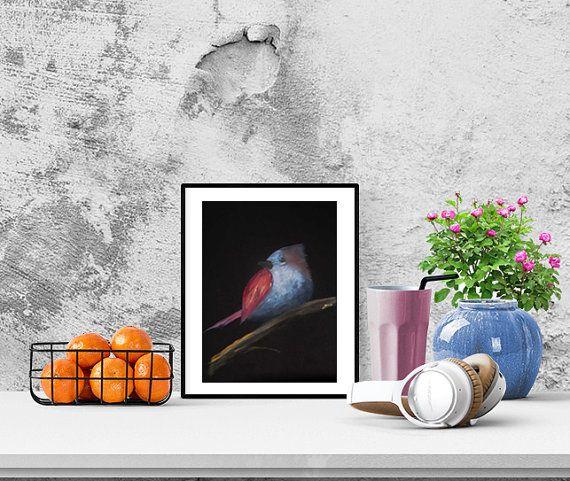 Bird N9 on a dark background. Oil Painting. by GausCraftStudio
