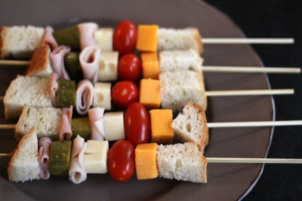 Sandwiches on a stick; these were the perfect snack to bring to our 4-year-old's preschool class but they'd work for lunch too. Load 'em up with whatever you (and the kids) like. No mayo or mustard needed.