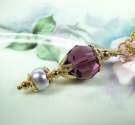 Purple bridesmaid necklace by MossRoseBrideJewelry, $25.00 #weddingjewelry #bridesmaidjewelry #purple #pendantnecklace