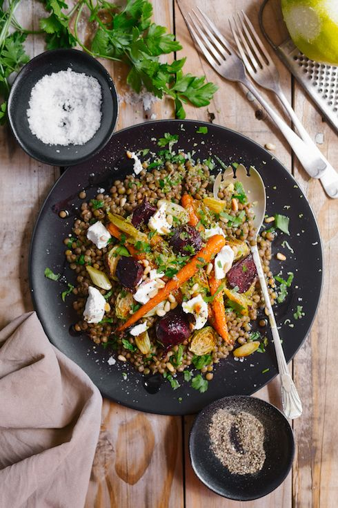 Lentil salad with roasted vegetables, lemon & goats cheese  |  The Food Fox (photography by Tasha Seccombe)