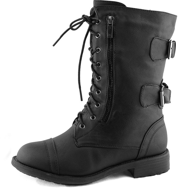 Women's Combat Military Cowboy Mid Calf Rubber Sole Boots >>> You can find out more details at the link of the image.