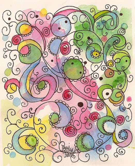 spiral watercolor plants twirls blotches . light green blue yellow pink pattern . doodling by jjlcooterpie . via flickr