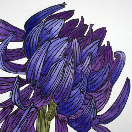 Blue Aster by Irene Helen MacKenzie Linocut