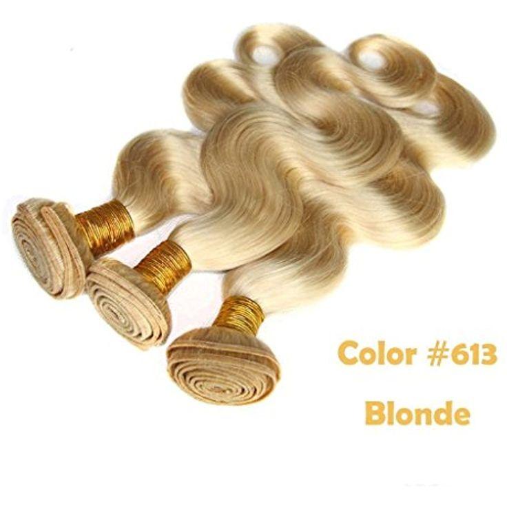 "Full Shine 16"" 16"" 16"" 300g per Set Full Head Maroon Hair Extensions Virgin Brazilian Hair Body Wave 3 Bundles of Blonde Weave Human Hair Bundles Color ("