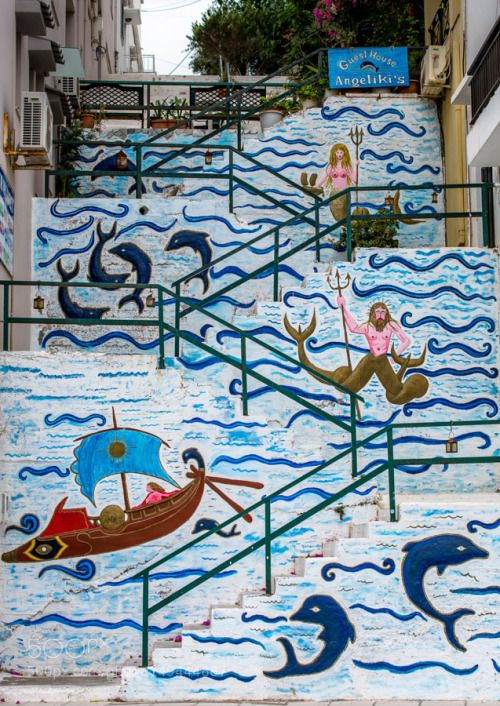 Angelikis by Aperturix Street Mural Greece Crete Staircase Dolphins Agios Nikolaos Guesthouse Angeliki's Aperturix