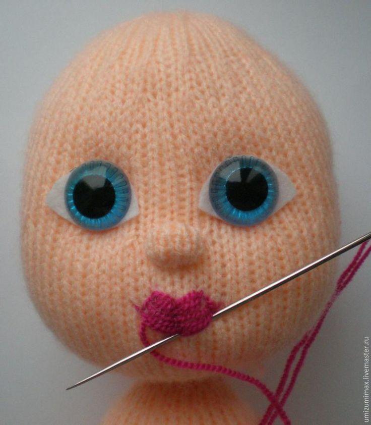 Вышиваем губки вязаной куколке - Ярмарка Мастеров - ручная работа, handmade