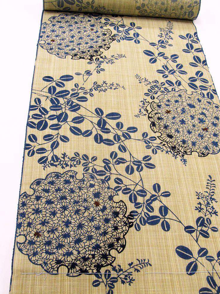 Yukata fabric 浴衣 / 竺仙 奥州小紋のゆかた地(菊詰雪輪に萩)