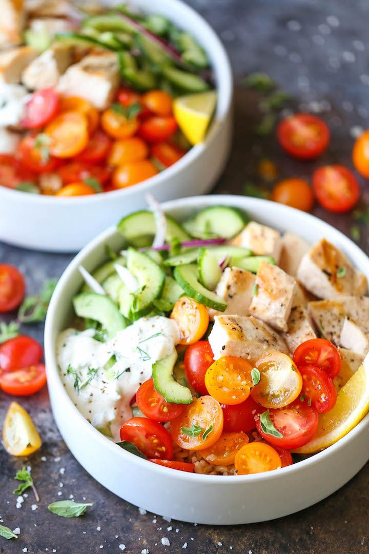 Greek Chicken Meal Prep Bowls - Packed with everyone's favorite fresh Greek flavors! With chicken, cucumber salad and homemade Greek yogurt tzatziki sauce!