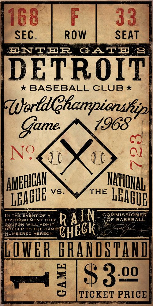 Vintage  Baseball Ticket CUSTOMIZE it graphic artwork on canvas 10 x 20 by stephen fowler. $89.00, via Etsy.