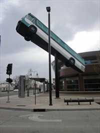 This elevated bus is at the 4th St Station in downtown Reno, NV.