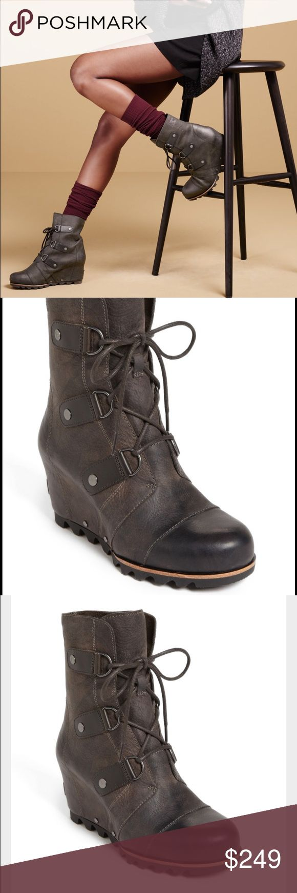 """Sorel Joan of Arc Wedge Size 10 Sorel Joan of Arc Wedge Size 10.                    """"An easy wedge modernizes a slopes-inspired boot designed with durable D-rings and a sturdy, razored-lug sole. 3 1/4"""" heel.                                                           6"""" boot shaft. Removable insole. Waterproof. Leather or textile upper/textile lining/rubber sole."""" Sorel Shoes Winter & Rain Boots"""