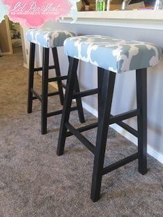 I'd Pin That: Bar Stool Face Lift with batting, foam and shower curtain
