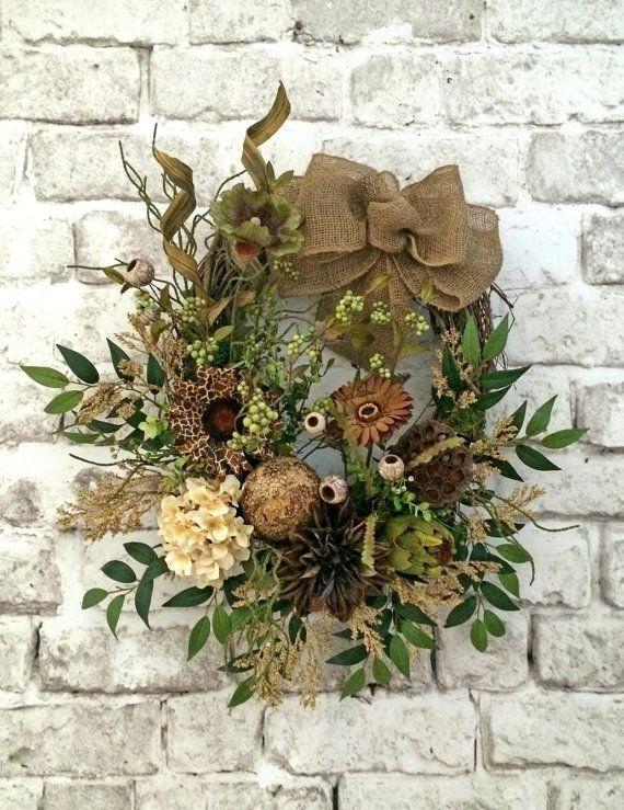 Neutral Summer Wreath for Door, Front Door Wreath, Summer Outdoor Wreath,Burlap…