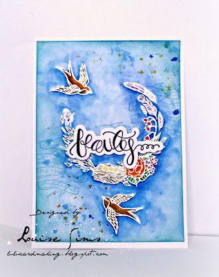 Spellbinders stamp & die sets - Beauty & Elegance, Swallow  Nuvo water colour pens - Aqua Flowa  Beauty in flight ... ~ Lulu and Cardmaking.