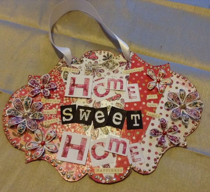 Home Sweet Home wall plaque Craftwork Cards Fab Fabrics