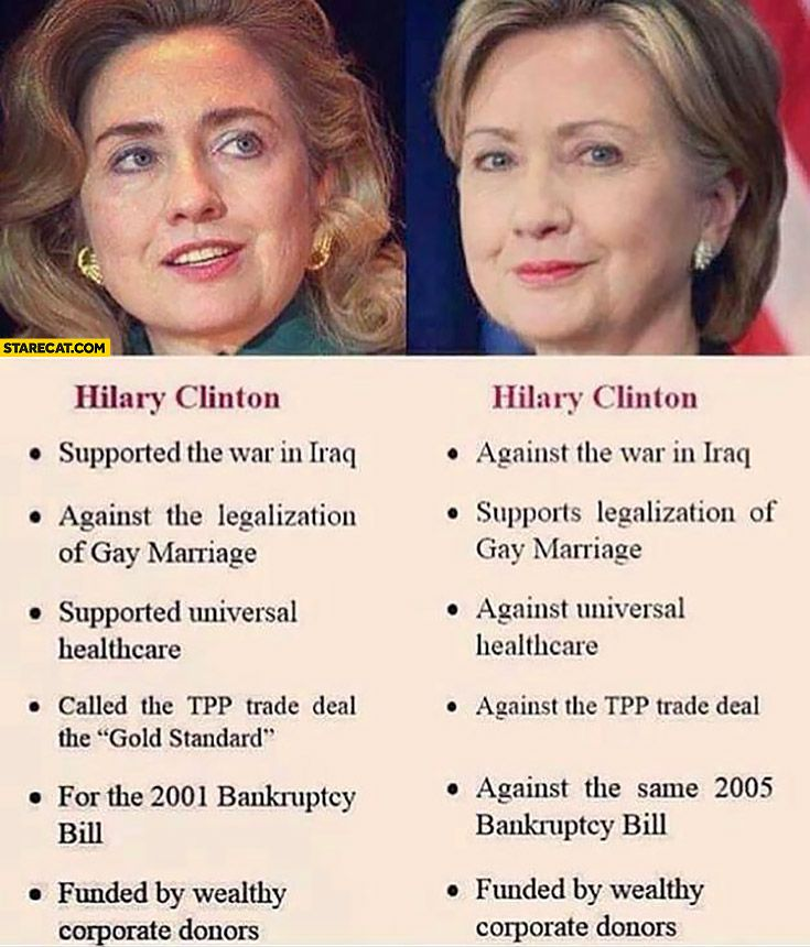 Hillary Clinton political views in the past vs now comparison opposite differences fail