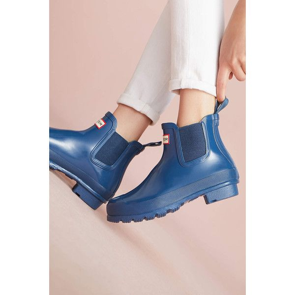 Hunter Chelsea Rain Boots ($138) ❤ liked on Polyvore featuring shoes, boots, navy, navy blue shoes, urban boots, urban footwear, navy boots and navy rain boots