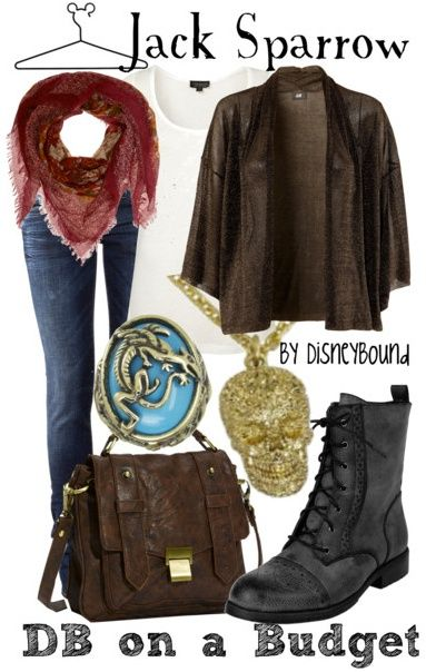 Disney inspired outfits...too bad I don't think I would ever actually wear this, but I do ❤️️Jack Sparrow.