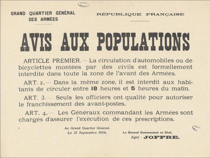 Affiche datant du 21 septembre 1914, Interdisant aux civils de circuler entre 18 heures et 5 heures du matin. Affiche imprimée sur papier blanc, 32 x 42 cm. Archives nationales, ADXXc/85/44. © Archives nationales, France