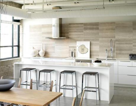 Wood look alike Porcelain tiles used as a splash back! Neat!