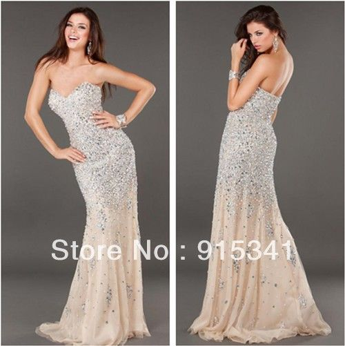 Euro Type Sweetheart Neck Silver Crystals Beaded Chiffon Long Champagne Prom Dresses 2013 $229.00