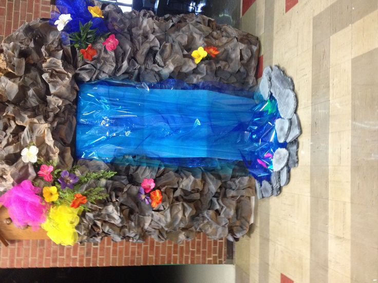 Classroom Waterfall Ideas ~ Vbs weird animals waterfall large cardboard boxes with
