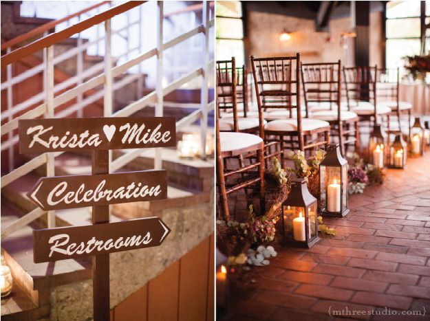 Lake Geneva Wedding   Grand Geneva Wedding   Ski Chalet Wedding   Fall Wedding lanterns, vines and floral aisle decorations and a charming wood sign  floral by Frontier Flowers of Fontana photo copyright m three studio