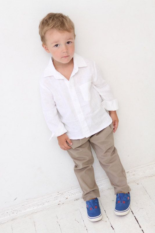 Baby Boy dress shirt Wedding party 1st birthday Baptism Long sleeve white linen shirt Boys clothes